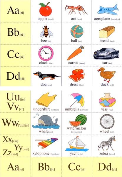 Английский алфавит с картинками на каждой букве